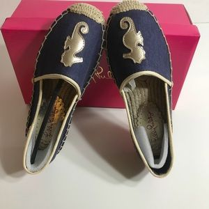 Lilly Pulitzer Lia Espadrille Navy Blue Loafers 6M